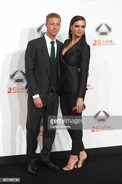 Guti and wife Romina Belluscio attend Antena 3 TV Channel 25th anniversary party at the Palacio de Cibeles on January 29 2015 in Madrid Spain