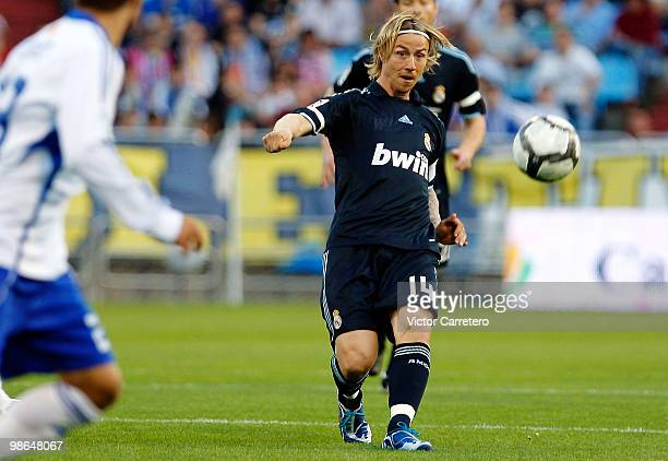 Guti of Real Madrid gives a pass during the La Liga match between Zargoza and Real Madrid at La Romareda on April 24 2010 in Zaragoza Spain