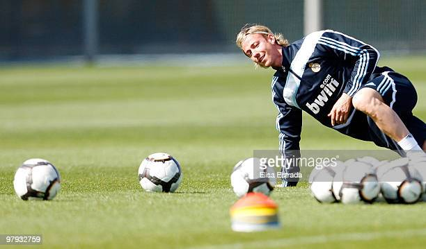 Guti of Real Madrid in action during a training session at Valdebebas on March 22 2010 in Madrid Spain
