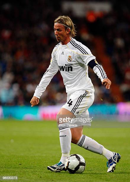 Guti of Real Madrid in action during the La Liga match between Real Madrid and Valencia at Estadio Santiago Bernabeu on April 18 2010 in Madrid Spain