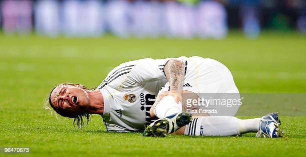 Guti of Real Madrid lies injured during the La Liga match between Real Madrid and Espanyol at Estadio Santiago Bernabeu on February 6 2010 in Madrid...