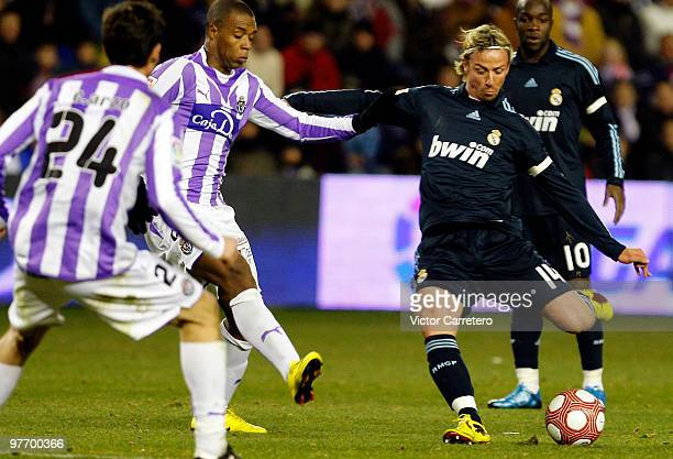 Guti of Real Madrid shoots on goal during the La Liga match between Real Valladolid and Real Madrid at Estadio Jose Zorilla on March 14 2010 in...