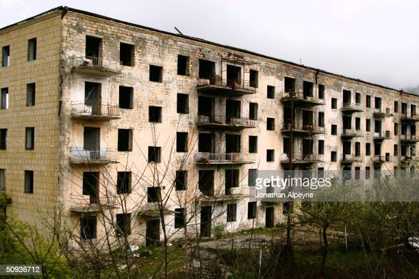 A gutted building in the western part of the town of Shushi is seen May 4 2004 in NagornoKarabakh Azerbaijan The town was retaken by Karabasti forces...