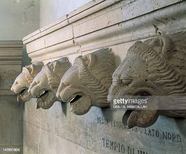 Guttering with lion heads unearthed near the Temple of Victory at the site of Himera Sicily Italy Ancient Greek civilization Magna Graecia 5th...
