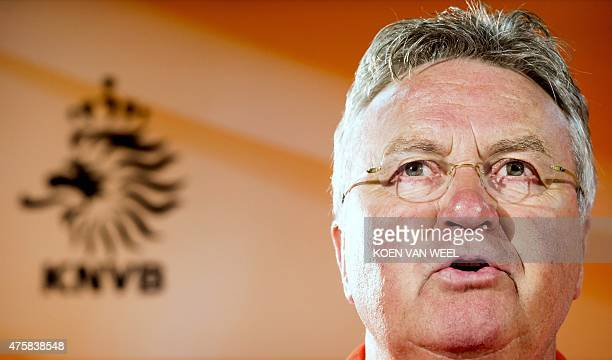 Guus Hiddink coach of the Dutch national football team speaks during a press conference in Hoenderloo on June 4 on the eve of the team's...