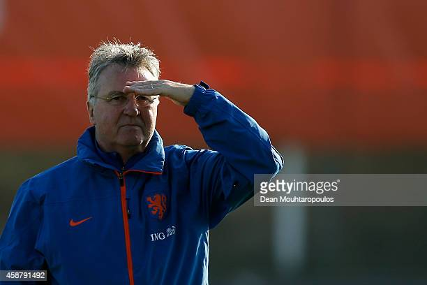 Guus Hiddink Head Coach / Manager of the Netherlands looks on during the Netherlands Training session held at the Quick Boys Sportpark Nieuw Zuid...
