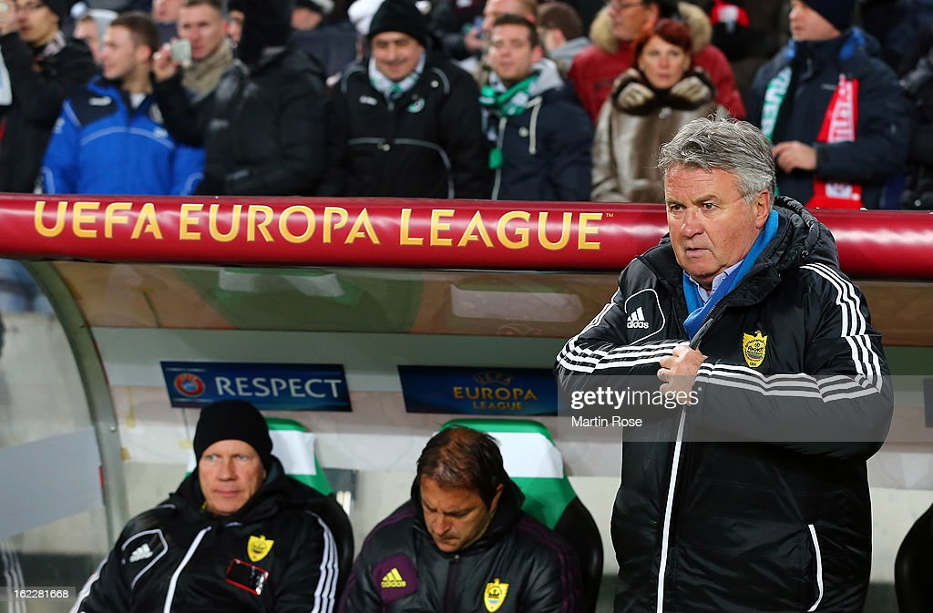 Guus Hiddink, head coach of Anji Makhachkala looks on before the UEFA Europa League Round of 32 second leg match between Hannover 96 and Anji Makhachkala at AWD Arena on February 21, 2013 in Hannover, Germany.