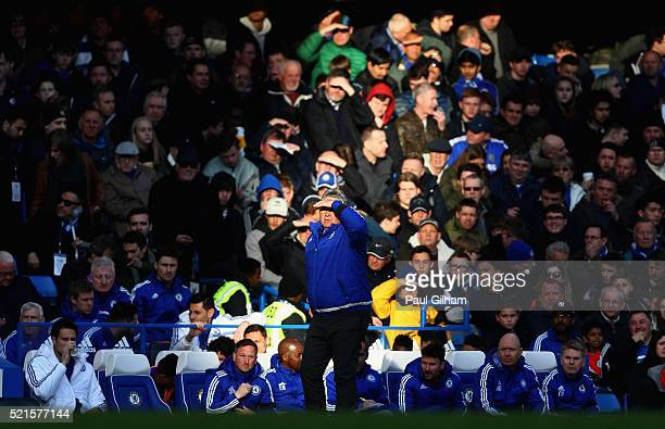 Guus Hiddink interim manager of Chelsea looks on during the Barclays Premier League match between Chelsea and Manchester City at Stamford Bridge on...