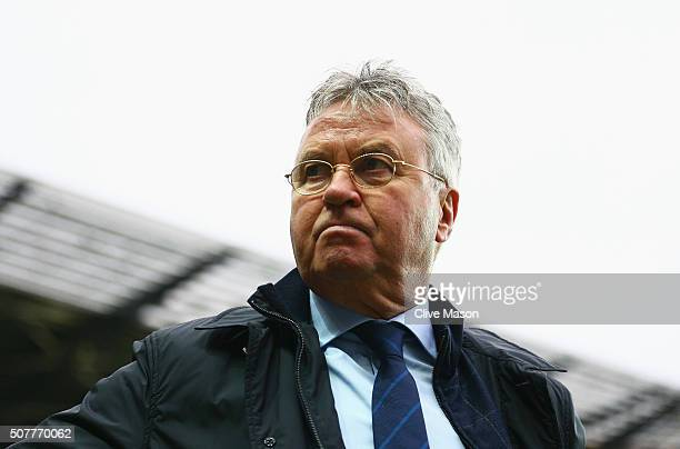 Guus Hiddink interim manager of Chelsea looks on prior to the Emirates FA Cup Fourth Round match between Milton Keynes Dons and Chelsea at Stadium mk...