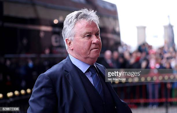 Guus Hiddink manager of Chelsea arrives for the Barclays Premier League match between Sunderland and Chelsea at the Stadium of Light on May 7 2016 in...
