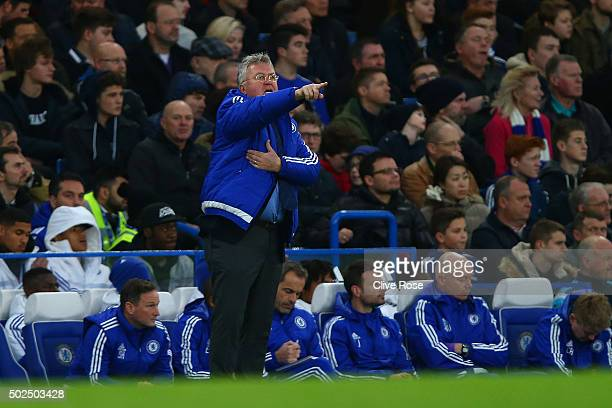 Guus Hiddink manager of Chelsea issues instructions from the touchline during the Barclays Premier League match between Chelsea and Watford at...