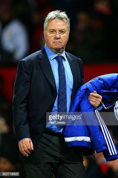 Guus Hiddink manager of Chelsea leaves the pitch after the Barclays Premier League match between Manchester United and Chelsea at Old Trafford on...