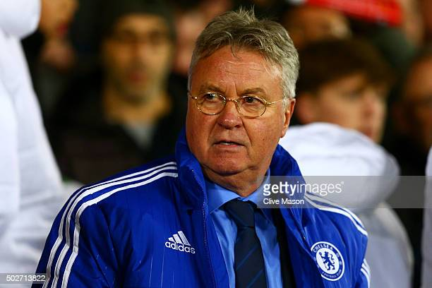Guus Hiddink manager of Chelsea looks on before the Barclays Premier League match between Manchester United and Chelsea at Old Trafford on December...