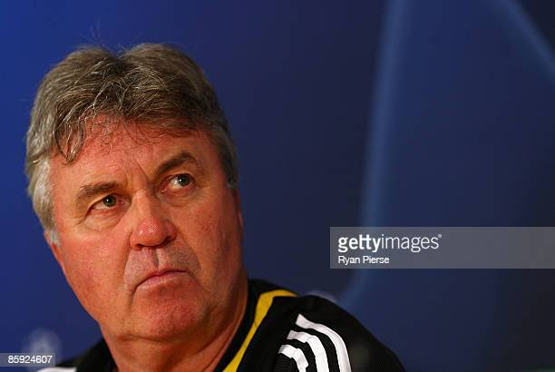 Guus Hiddink manager of Chelsea speaks to the media during the Chelsea Press Conference at Stamford Bridge on April 13 2009 in London England