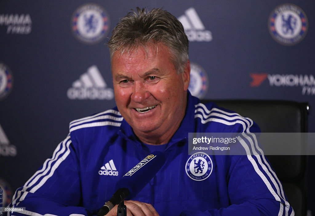 Guus Hiddink, the Chelsea manager, is pictured during a press conference at Chelsea Training Ground on April 29, 2016 in Cobham, England.