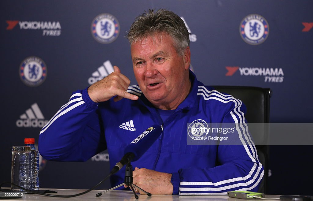 Guus Hiddink the Chelsea manager is pictured during a press conference at Chelsea Training Ground on April 29 2016 in Cobham England