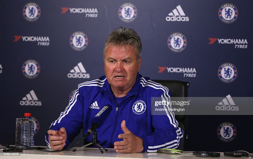 <a gi-track='captionPersonalityLinkClicked' href=/galleries/search?phrase=Guus+Hiddink&family=editorial&specificpeople=214125 ng-click='$event.stopPropagation()'>Guus Hiddink</a>, the Chelsea manager, is pictured during a press conference at Chelsea Training Ground on April 29, 2016 in Cobham, England.