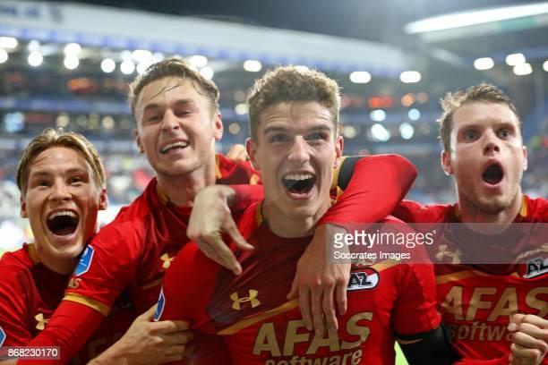 Guus Til of AZ Alkmaar celebrates 12 with Jonas Svensson of AZ Alkmaar Teun Koopmeiners of AZ Alkmaar Thomas Ouwejan of AZ Alkmaar during the Dutch...