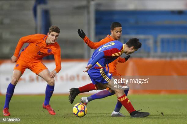 Guus Til of Jong Oranje Justin Kluivert of Jong Oranje Joan Cervos of Jong Andorra during the EURO U21 2017 qualifying match between Netherlands U21...