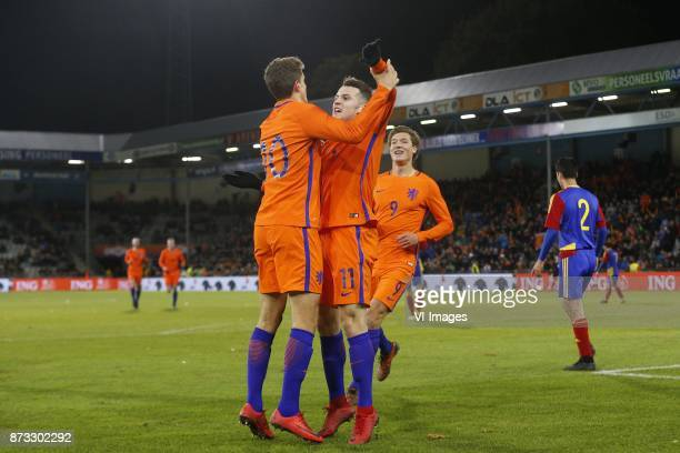 Guus Til of Jong Oranje Oussama Idrissi of Jong Oranje Sam Lammers of Jong Oranje during the EURO U21 2017 qualifying match between Netherlands U21...
