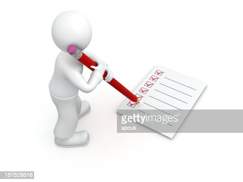 3D guy and complete checklist. : Stock Photo