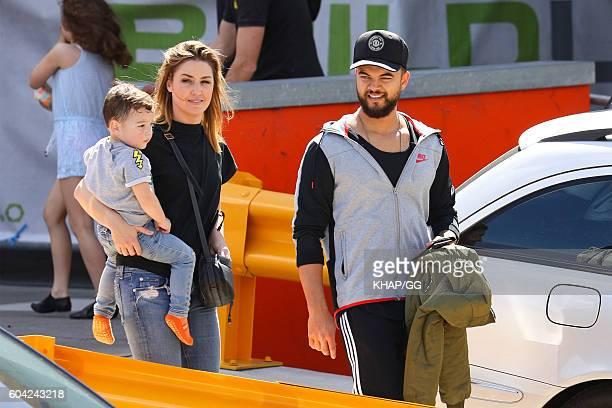Guy and Jules Sebastian with son Archer leaving Sky Zone on September 10 2016 in Sydney Australia