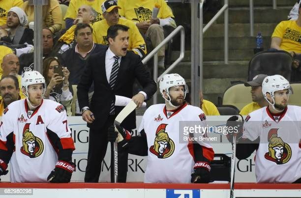 Guy Boucher of the Ottawa Senators handles bench duties against the Pittsburgh Penguins in Game One of the Eastern Conference Final during the 2017...