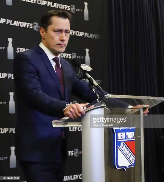 Guy Boucher of the Ottawa Senators speaks with the media prior to playing against the New York Rangers in Game Six of the Eastern Conference Second...