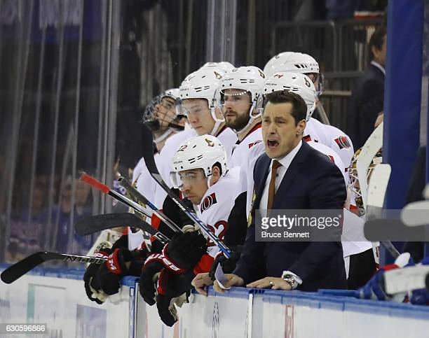 Guy Boucher of the Ottawa Senators yells to his palyers in the closing seconds of a 43 loss to the New York Rangers at Madison Square Garden on...