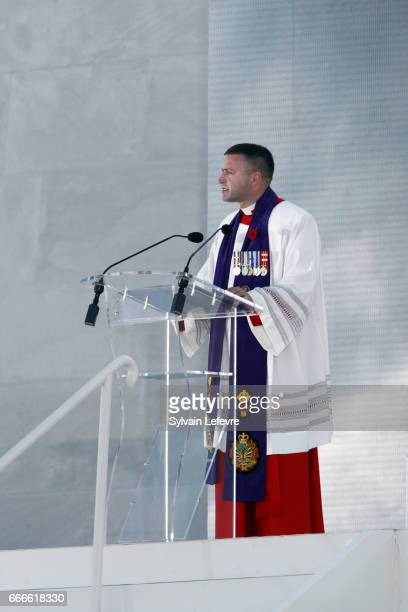 Guy Chapdelaine delivers a speech during the official ceremony for the Commemoration of the 100th Anniversary of Vimy Battle on April 9 2017 in Vimy...