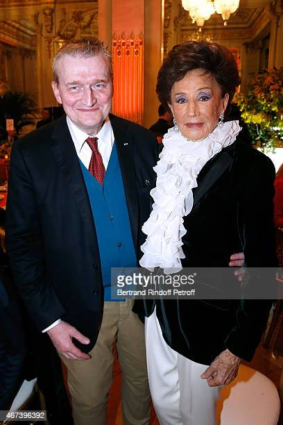 Guy Cogeval and Countess Jacqueline de Ribes attend the 'Societe des Amis du Musee D'Orsay' Dinner Party at Musee d'Orsay on March 23 2015 in Paris...