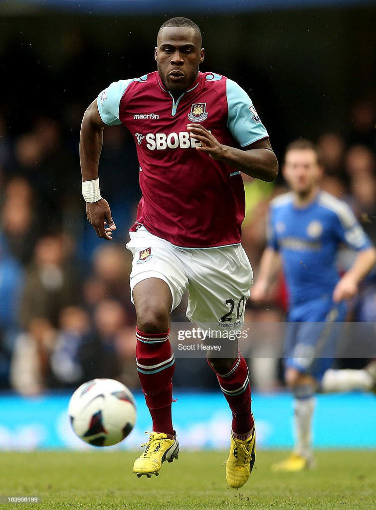 Guy Demel of West Ham in action during the Barclays Premier League match between Chelsea and West Ham United at Stamford Bridge on March 17, 2013 in London, England.
