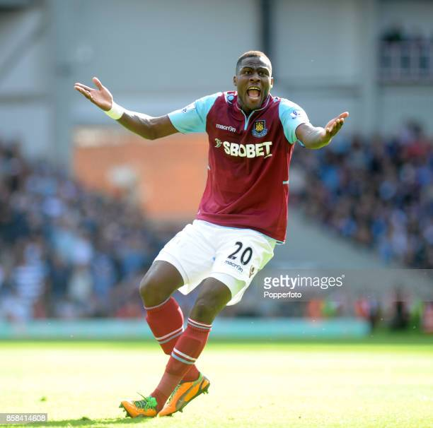 Guy Demel of West Ham reacts during the Barclays Premier League match between West Ham United and Sunderland at the Boleyn Ground on September 22...
