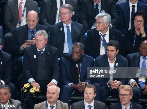 Guy Drut Issa Hayatou Tony Estanguet above center Bernard Lapasset attend the 25th IHF Men's World Championship 2017 Final between France and Norway...