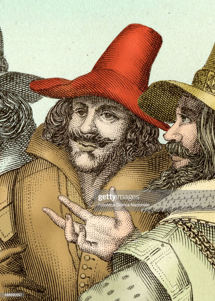 Guy Fawkes (1570-1606) military and english plotter, with Robert Catesby (1572-1605) British politician and creator of The Conspiracy of the Powders, foiled the November 5, 1605. Detail from the printing which depicts all of the seven conspirators. Colorized Version from printing, United Kingdom, London approx. 1805. (Photo by Fototeca Gilardi/Getty Images).