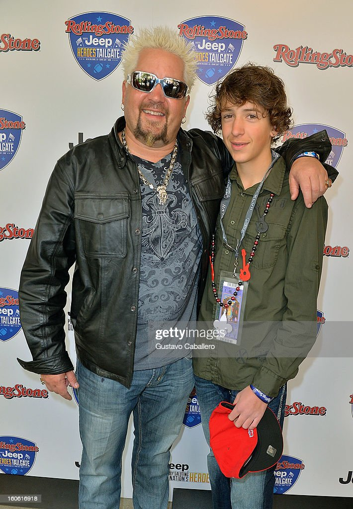 Guy Fieri and Hunter Fieri attend the Rolling Stone Hosted Jeep Heroes Tailgate on February 3, 2013 in New Orleans, Louisiana.