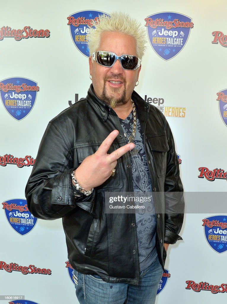 <a gi-track='captionPersonalityLinkClicked' href=/galleries/search?phrase=Guy+Fieri&family=editorial&specificpeople=4593795 ng-click='$event.stopPropagation()'>Guy Fieri</a> attends the Rolling Stone Hosted Jeep Heroes Tailgate on February 3, 2013 in New Orleans, Louisiana.