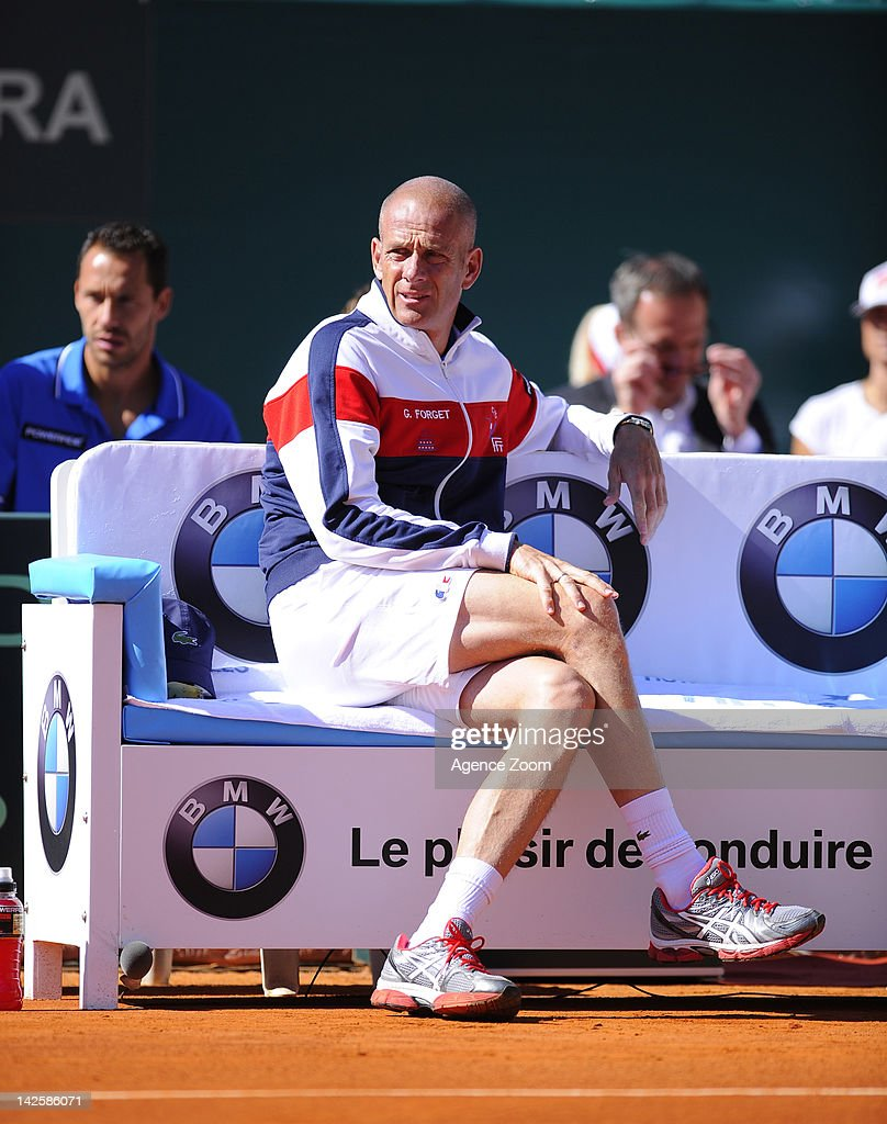 Guy Forget and French team sits on Day 3 of the Davis Cup MonteCarlo Rolex Masters Quarter Final on April 08 2012 in MonteCarlo France
