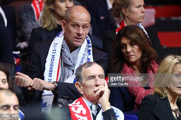 Guy Forget and his wife Isabelle Forget attend day one of the Davis Cup tennis final between France and Switzerland at the Grand Stade Pierre Mauroy...