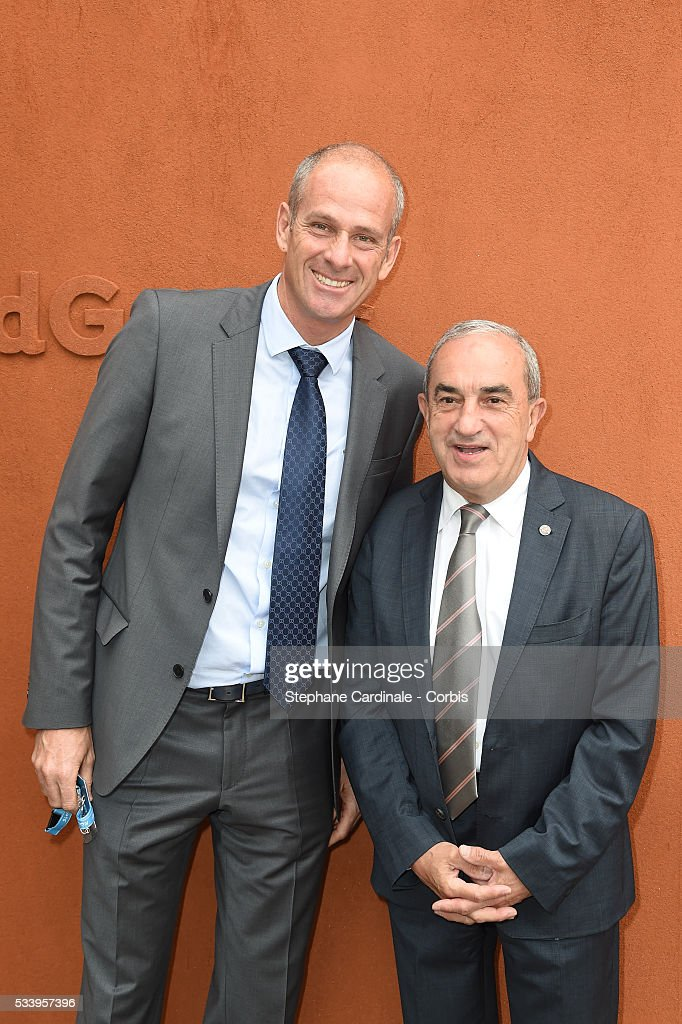 <a gi-track='captionPersonalityLinkClicked' href=/galleries/search?phrase=Guy+Forget&family=editorial&specificpeople=235573 ng-click='$event.stopPropagation()'>Guy Forget</a> and <a gi-track='captionPersonalityLinkClicked' href=/galleries/search?phrase=Jean+Gachassin&family=editorial&specificpeople=5701397 ng-click='$event.stopPropagation()'>Jean Gachassin</a> attend the 2016 French tennis Open day 3, at Roland Garros on May 24, 2016 in Paris, France.