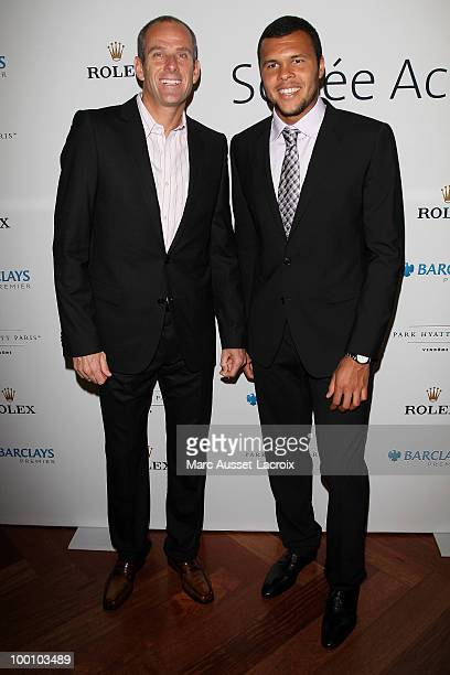 Guy Forget and Jo Wilfried Tsonga Father attend ''the Jo Wilfried Tsonga 'Ace de Coeur' Charity Cocktail'' at Hotel Park Hyatt on May 20 2010 in...