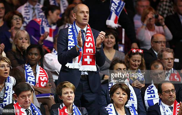 Guy Forget attends the doubles during day two of the Davis Cup tennis final between France and Switzerland at the Grand Stade Pierre Mauroy on...
