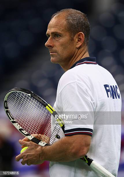 Guy Forget captain of France looks on at the Begrade Arena on December 2 2010 in Belgrade Serbia