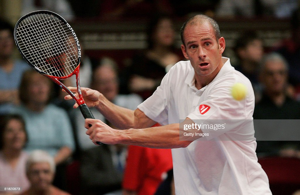 Guy Forget of France in action during his match against Jim Courier of the USA at The Masters Tennis tournament at the Royal Albert Hall on December...