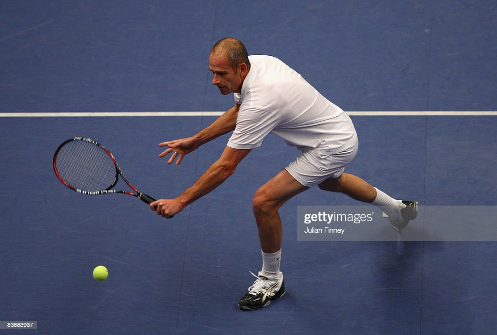Guy Forget of France plays a volley in his match against Greg Rusedski of Great Britain during the BlackRock Masters Tennis at the Royal Albert Hall...