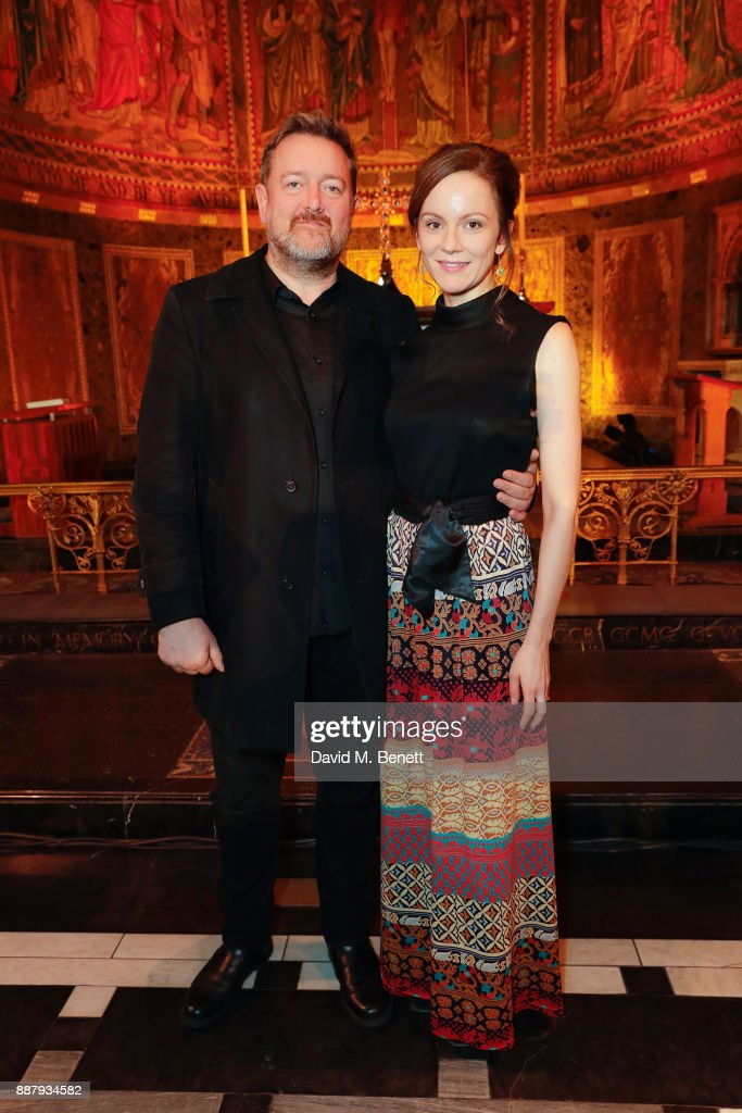 Guy Garvey and Rachael Stirling attend Macmillan Cancer Support's Guards' Chapel Christmas Carol Concert at Wellington Barracks on December 7, 2017 in London, England.