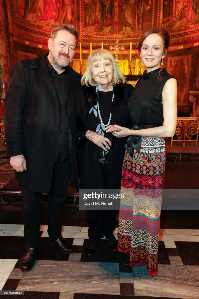 Guy Garvey, Dame Diana Rigg and Rachael Stirling attend Macmillan Cancer Support's Guards' Chapel Christmas Carol Concert at Wellington Barracks on December 7, 2017 in London, England.