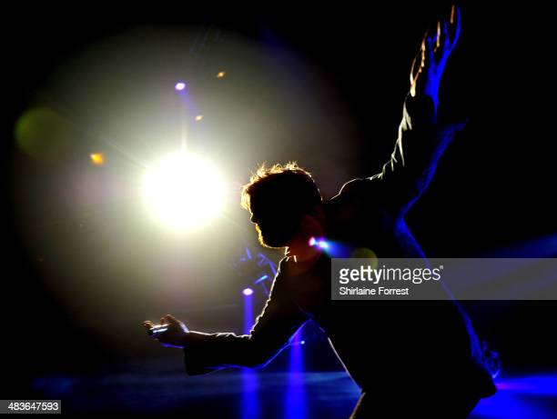 Guy Garvey of Elbow performs a homecoming show at Phones 4U Arena Manchester on April 9 2014 in Manchester England