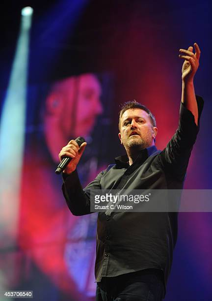 Guy Garvey of Elbow performs on Day 1 of the V Festival at Hylands Park on August 16 2014 in Chelmsford England