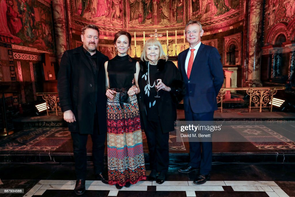 Guy Garvey, Rachael Stirling, Dame Diana Rigg and Martin Clunes attend Macmillan Cancer Support's Guards' Chapel Christmas Carol Concert at Wellington Barracks on December 7, 2017 in London, England.